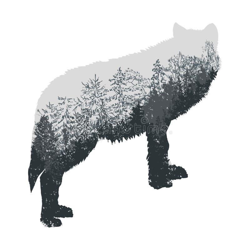 Sumário do vetor A silhueta do lobo do urro com montanhas cinzentas ajardina ilustração do vetor