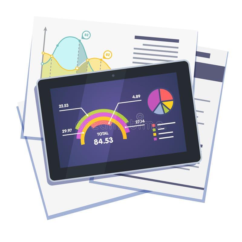 Sumário dos dados estatísticos no papel e na tabuleta ilustração royalty free