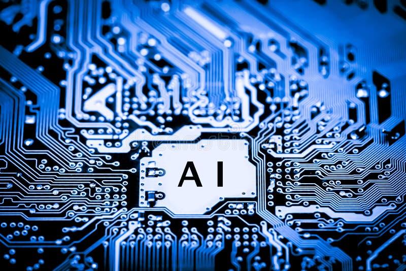 Sumário, fim acima do fundo do computador eletrônico de Mainboard inteligência artificial, ai fotos de stock royalty free