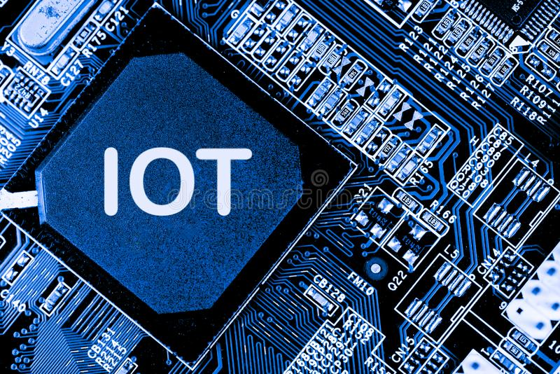 Sumário, fim acima do fundo do computador eletrônico de Mainboard IOT, dados grandes, ai fotografia de stock royalty free