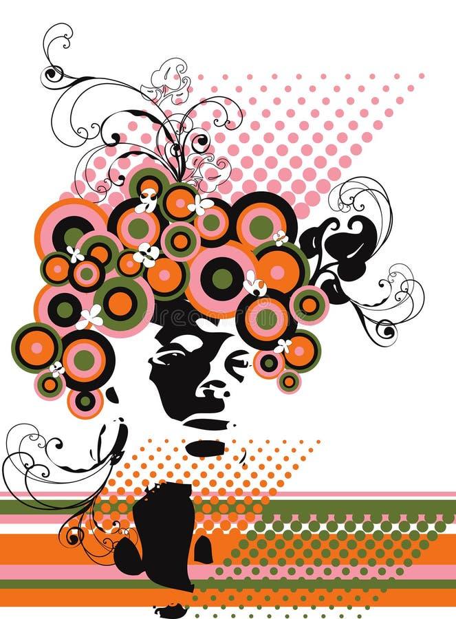 Sumário floral da silhueta modelo retro ilustração stock