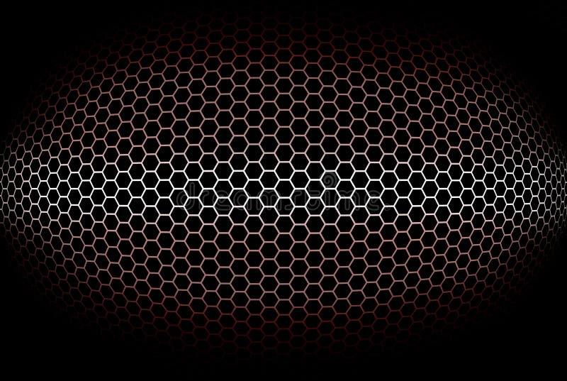 Sumário, fundo vermelho cilíndrico com grade octogonal ilustração stock