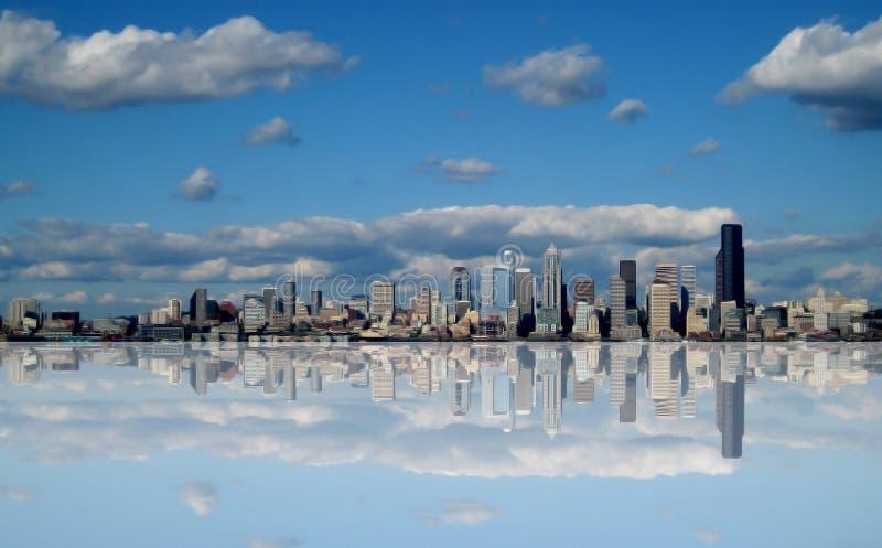 Sumário futurista da skyline de Seattle Washington imagem de stock royalty free