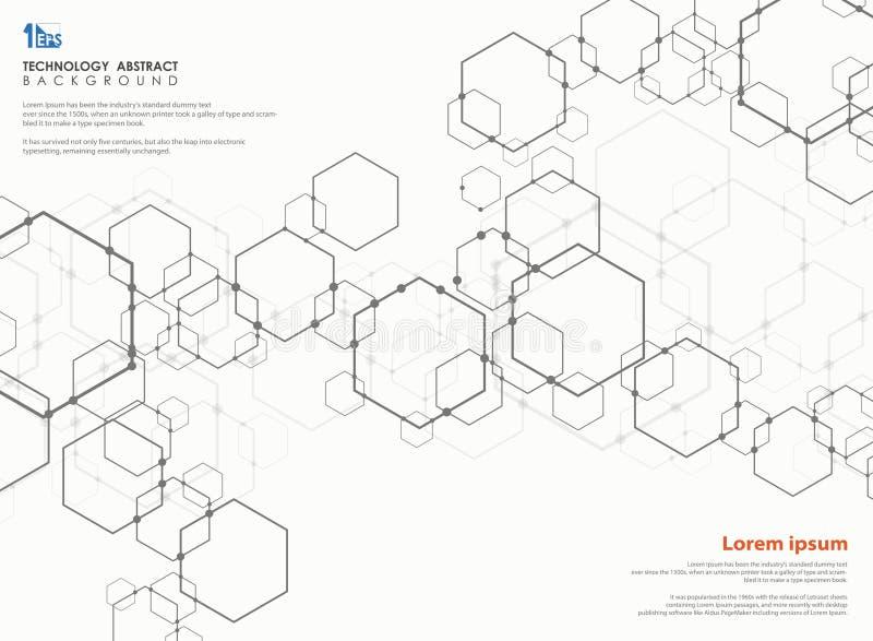 Sumário futurista do teste padrão do projeto moderno do pentagon da tecnologia ilustração stock