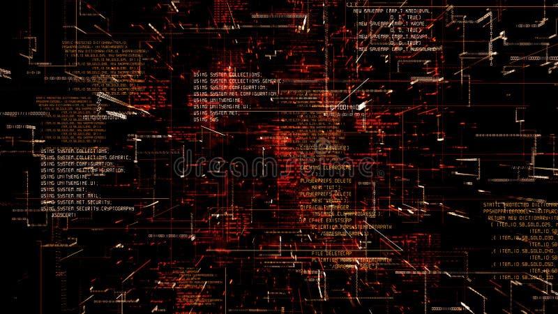 Sumário futurista que programa o flythrough sem emenda do código vermelho ilustração do vetor
