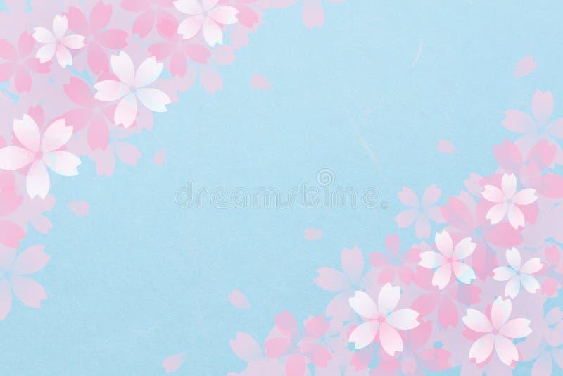 Sumário japonês da flor de cerejeira no fundo do papel azul do vintage ilustração stock