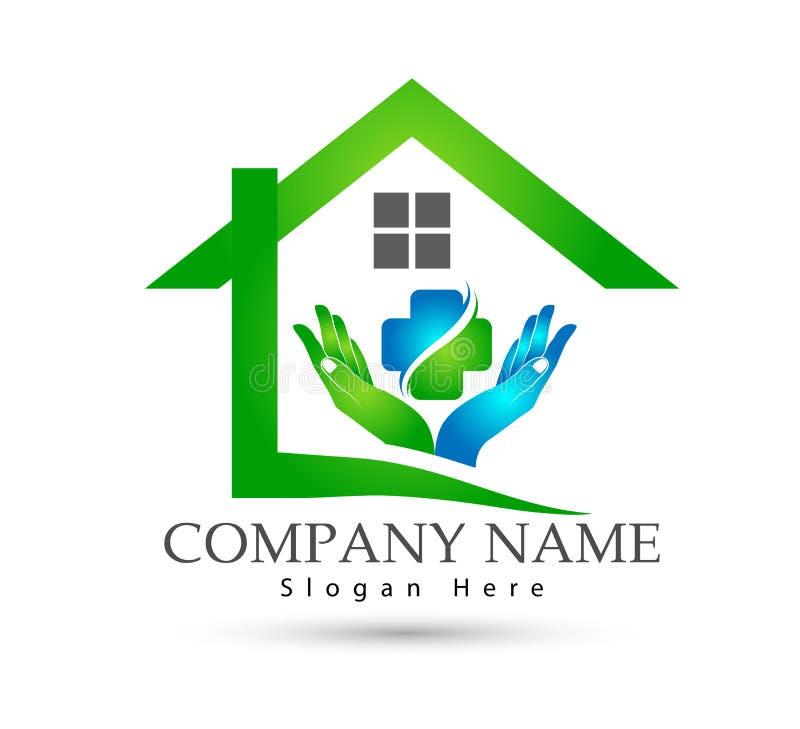 Sumário modelo da comunidade da casa verde, ícone dos cuidados médicos no vetor do logotipo dos bens imobiliários das mãos ilustração royalty free