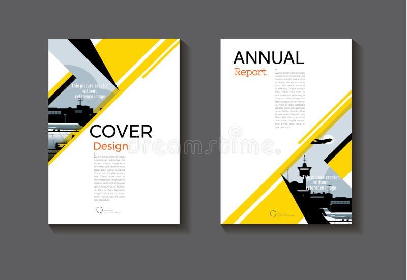 Sumário moderno Brochur da capa do livro do projeto amarelo e preto da tampa ilustração royalty free