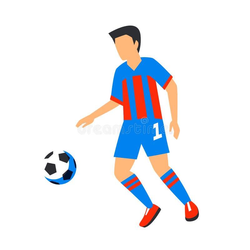 Sumário no jogador de futebol azul com bola Jogador de futebol isolado em um fundo branco Campeonato do mundo de FIFA Futebol ilustração stock