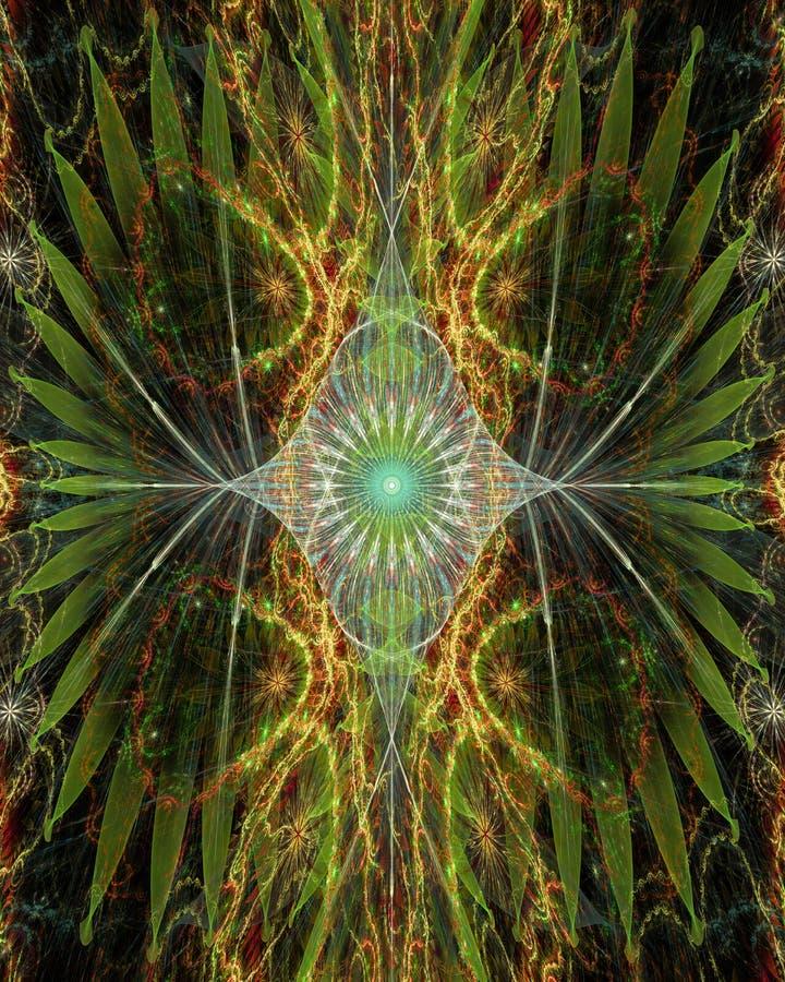 Sumário olho-como a flor com as asas decorativas nos lados no brilho verde, amarelo, cor-de-rosa, azul ilustração royalty free