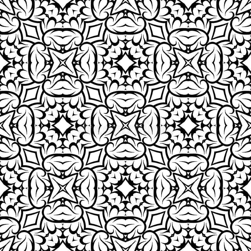 Sumário preto e branco do vetor e do teste padrão da repetição e projeto sem emenda ilustração do vetor