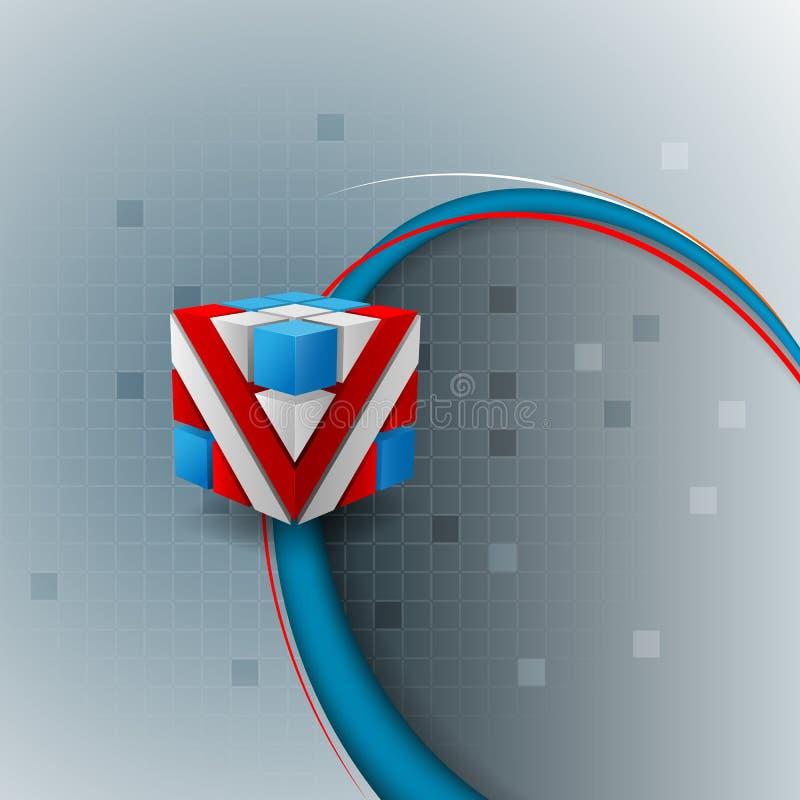 Sumário, projeto, fundo decorativo com os três cubos coloridos das dimensões ilustração do vetor