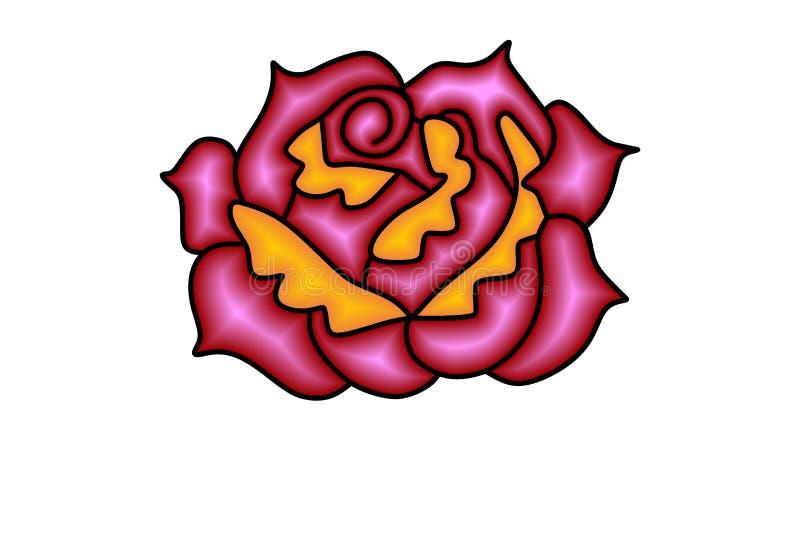 Sumário Rose Flower Logo Designs Inspiration isolada no fundo branco ilustração do vetor