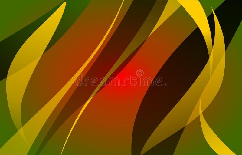 Sumário verde, teste padrão moderno frondoso amarelo, preto, vermelho do vetor ilustração royalty free