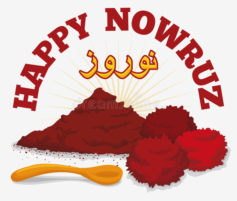 Sumac Powder, Dried Fruits and Spoon for Nowruz, Vector Illustration. Dried sumac and fruits symbolizing the sunrise in the persian tradition of Haft Sin in royalty free illustration