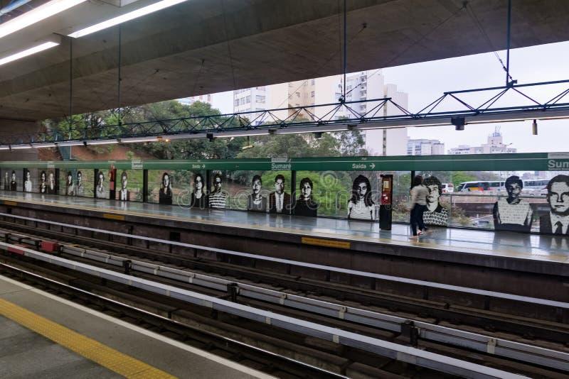 Sumare-U-Bahnstations-Plattform - Sao Paulo, Brasilien lizenzfreies stockbild