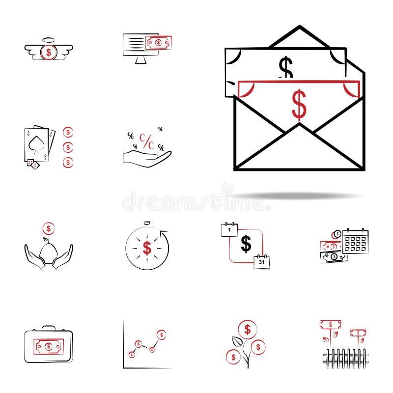 Sumarycznego dochodu ikona Finansowy ikony ogólnoludzki ustawiający dla sieci i wiszącej ozdoby ilustracja wektor