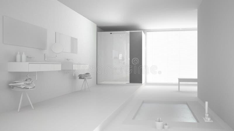Sumaryczny biały projekt minimalistyczna łazienka fotografia stock