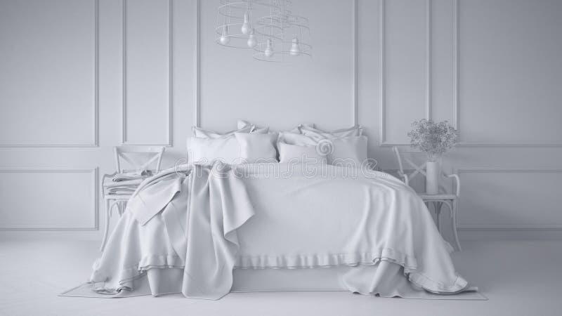 Sumaryczny biały projekt rocznik klasyczna sypialnia z miękki łóżkowy pełnym poduszki i koc, biel pleśniejąca ściana, drewniani b ilustracja wektor