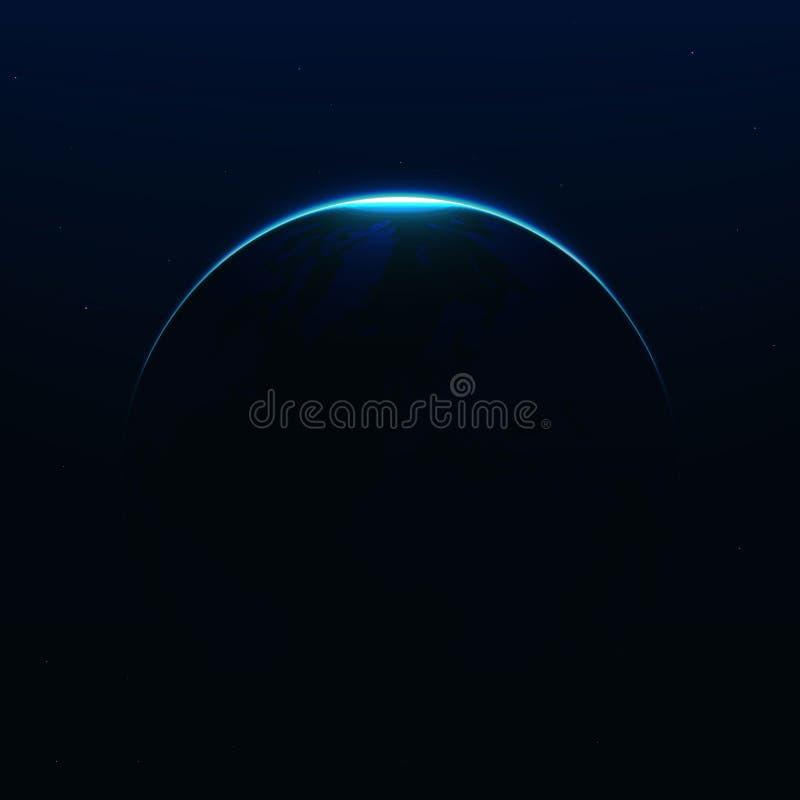 Sumaryczny słoneczny lekki skutek odizolowywający, księżyc zaćmienie Wschód słońca w astronautycznym wektorze ilustracji