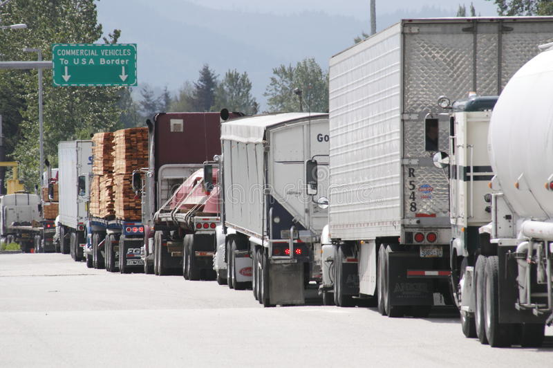 Sumas Truck US Border Crossing. A truck border crossing in Sumas, Washington stock photography
