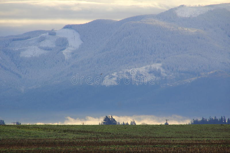 Sumas Winter Landscape. The Sumas mountain range in south western Washington State during the cold, winter months stock photo