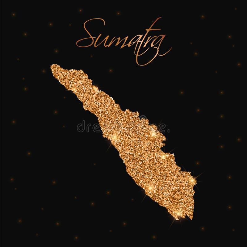 Sumatra mapa wypełniająca z złotą błyskotliwością royalty ilustracja