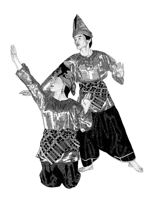 Sumatran Dancing Couple Stock Illustration
