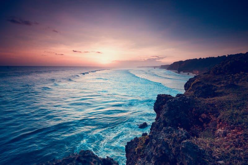 Sumba island indonesia beautiful sunset coastline royalty free stock photo