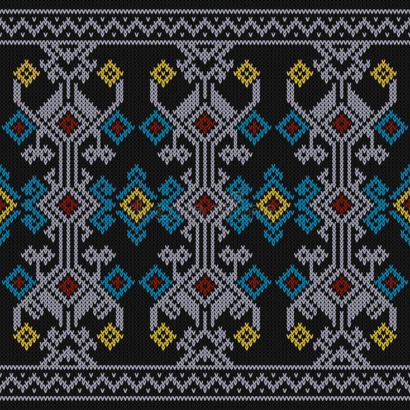 Sumba puloweru tekstura, Indonezja Tradycyjny wzór Bezszwowy dzianie wzoru kolor ilustracja wektor