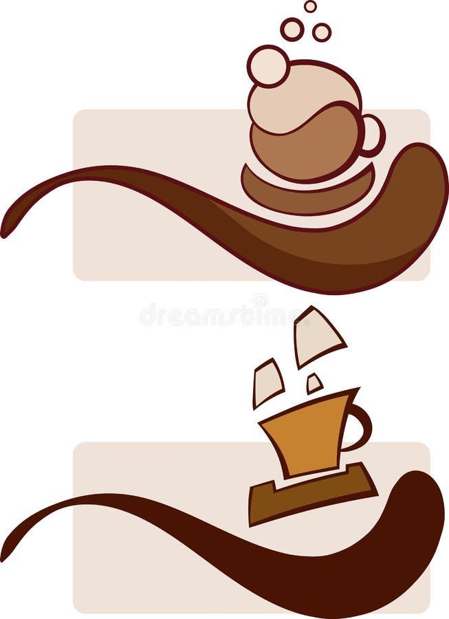 Sumbols de la taza de café de cocer las tazas al vapor de café, de capuchino y de café express foto de archivo