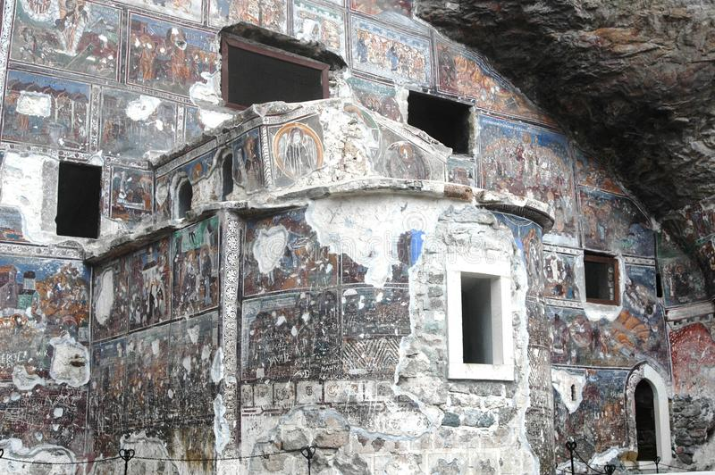 Sumela Monastery in Trabzon in thousands of years, adorned with handmade and icons everywhere, have come much ruined our day stock image
