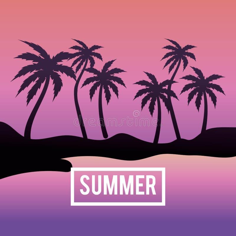 Sumer semester i ön med palmträd stock illustrationer