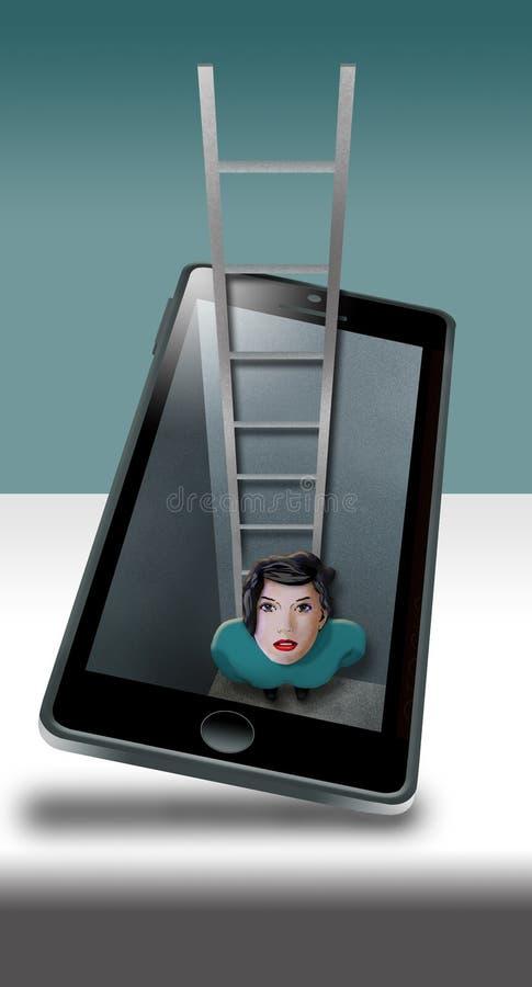 Sumergido en su teléfono celular literalmente es una mujer que aparece estar dentro del teléfono con una escalera a escaparse si  stock de ilustración