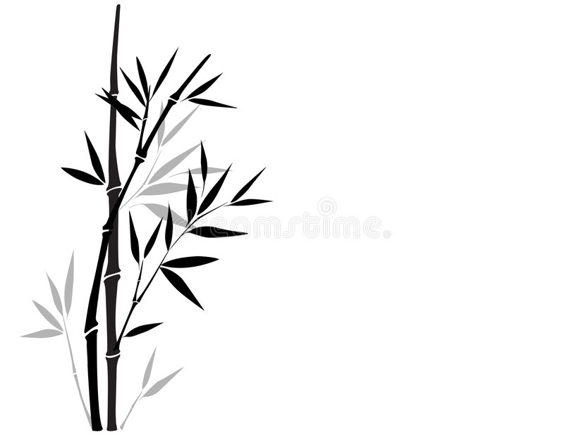 Sumi-e bamboo. Black and white bamboo vector illustration in Chinese art style. Please visit my portfolio to see more chinese style illustrations