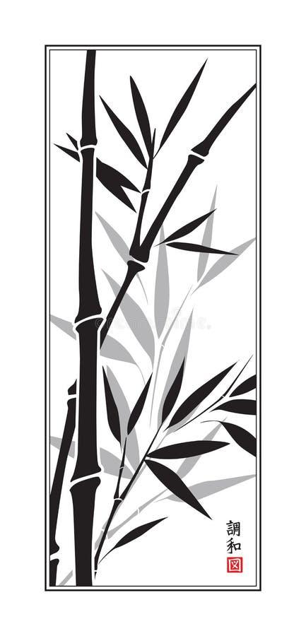 Sumi-e Bambus lizenzfreie abbildung