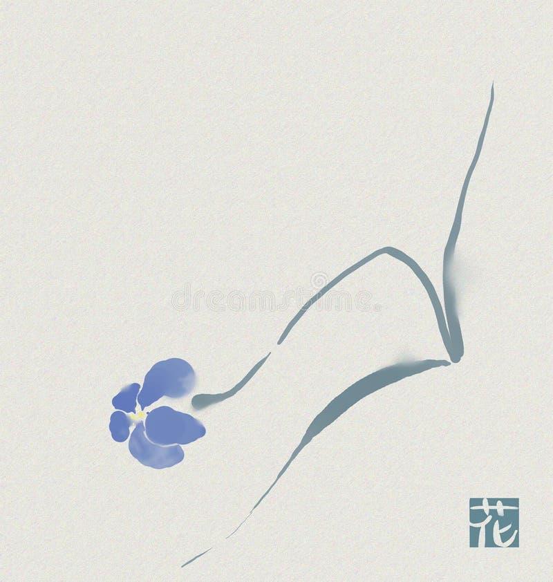 Sumi-e de um flower2 ilustração stock