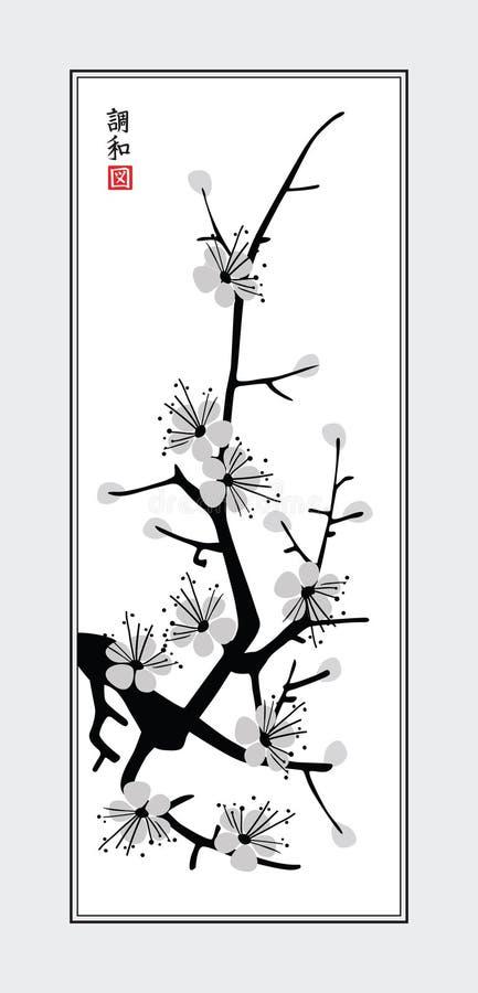 Sumi-e sakura vector illustration