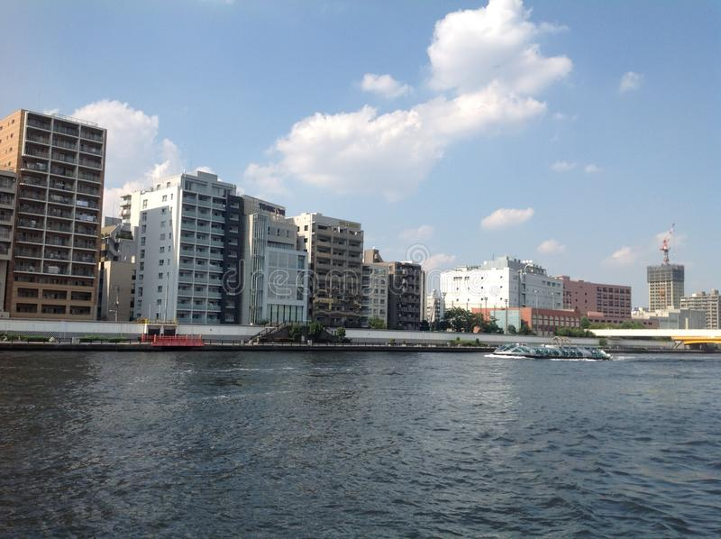 Sumida river in Tokyo stock photo