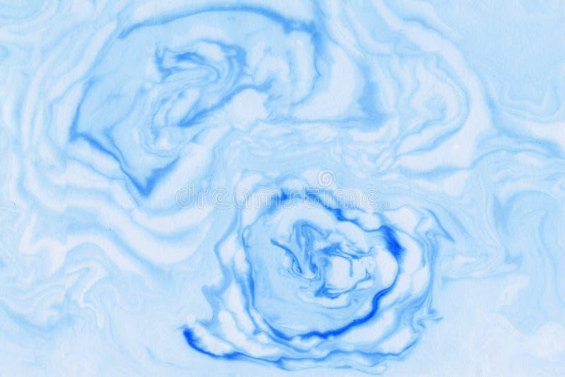 Suminagashi marmuru tekstury ręka malująca z błękitem fotografia royalty free