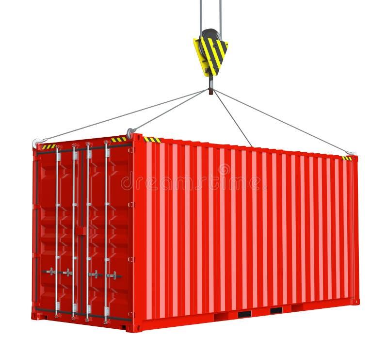 Suministro de servicios - contenedor para mercancías rojo alzado por el gancho foto de archivo
