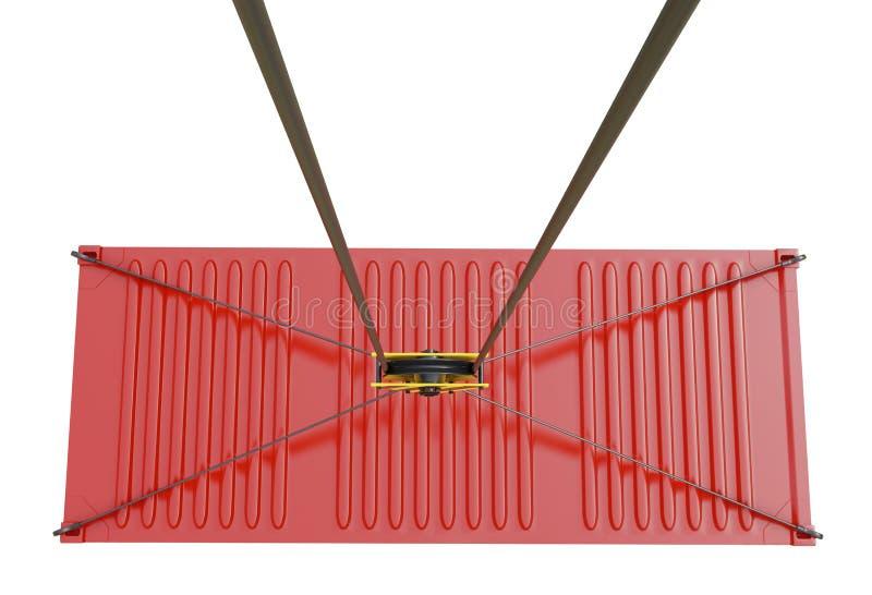 Suministro de servicios - contenedor para mercancías rojo alzado por el gancho libre illustration