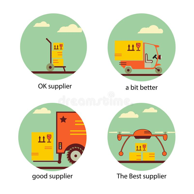 Suministro de servicios, Supplie, mudanza, transporte e iconos logísticos de las muestras fijados Simbols planos fotografía de archivo libre de regalías