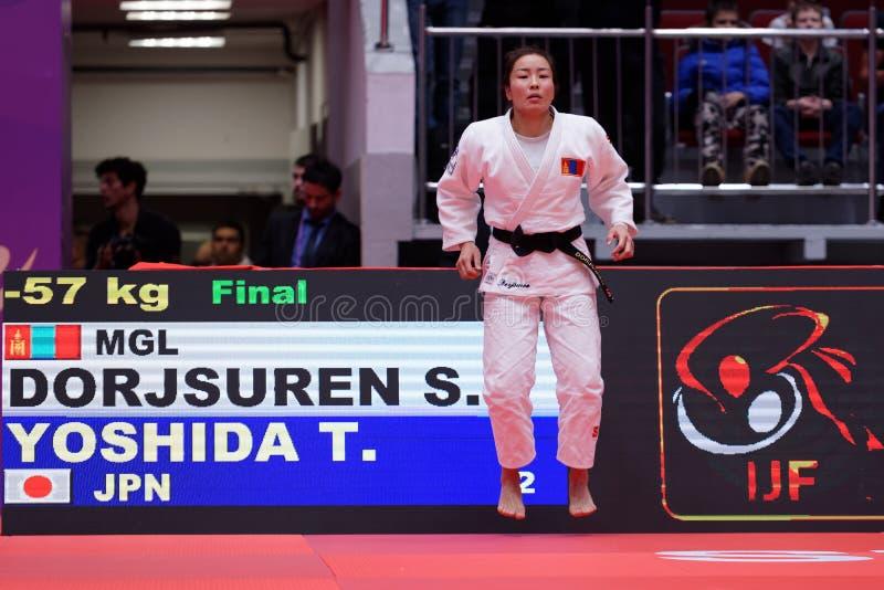 Sumiya Dorjsuren, Mongoliet, för den sista kampen av judovärlden styr 2017 arkivbilder