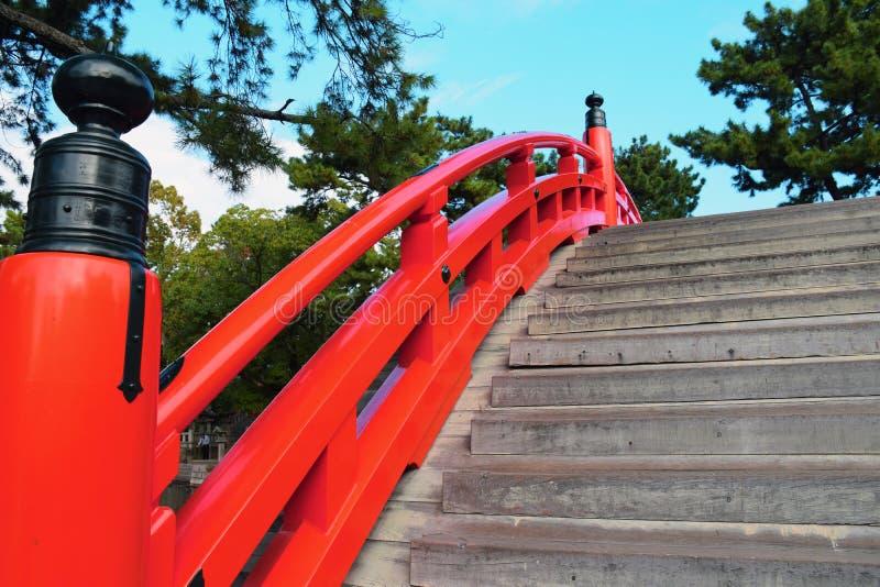 Sumiyoshi Taisha寺庙,大阪鼓桥梁  免版税库存图片