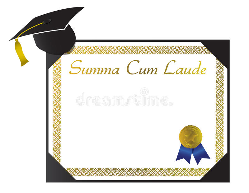 summa laude college diploma with cap and tasse stock image