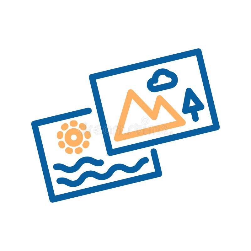 Summarisk symbol Uppsättning av två foto Gör linjen symbol tunnare stock illustrationer
