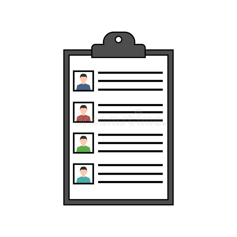 Summary concept. Vector resume icon. Recruitment. Document with information about a people. Flat design royalty free illustration