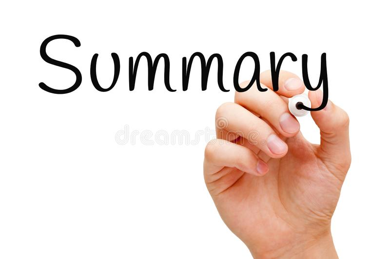 Summary Handwritten With Black Marker. Hand writing the word Summary with black marker on transparent wipe board isolated on white stock photos
