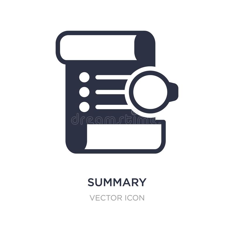 Summary icon on white background. Simple element illustration from Technology concept. Summary sign icon symbol design stock illustration